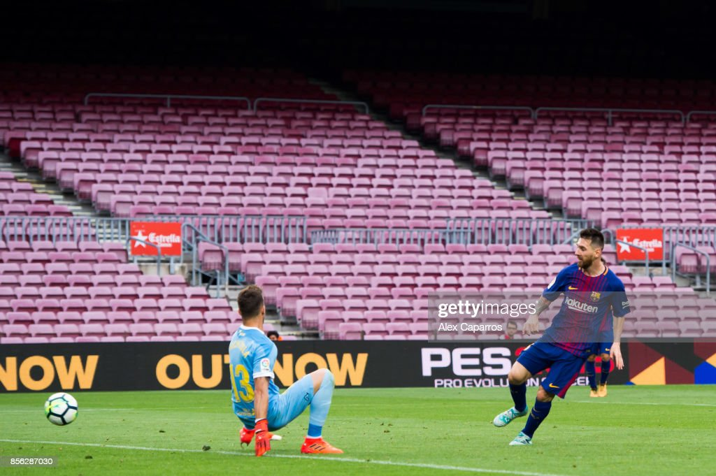 Lionel Messi of FC Barcelona scores his team's third goal during the La Liga match between Barcelona and Las Palmas at Camp Nou on October 1, 2017 in Barcelona, Spain. The match is being played with empty stands after the events occured in Catalonia during the voting of a Catalonia independence referendum declared illegal and undemocratic by the Spanish government.