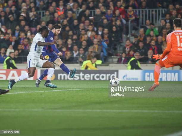 Lionel Messi of FC Barcelona scores his team's third goal during the UEFA Champions League Round of 16 Second Leg match FC Barcelona and Chelsea FC...