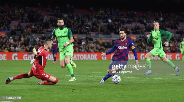Lionel Messi of FC Barcelona scores the fifth goal during the Copa del Rey Round of 16 match between FC Barcelona and CD Leganes at Camp Nou on...