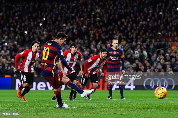 Lionel Messi of FC Barcelona scores the opening goal from the penalty spot during the La Liga match between FC Barcelona and Athletic Club de Bilbao...