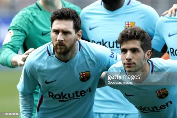 Lionel Messi of FC Barcelona Sergi Roberto of FC Barcelona during the La Liga Santander match between Eibar v FC Barcelona at the Estadio Municipal...