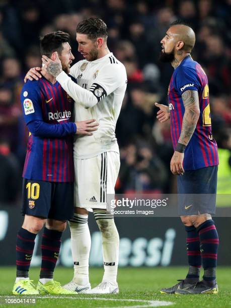 Lionel Messi of FC Barcelona Sergio Ramos of Real Madrid Arturo Vidal of FC Barcelona during the Spanish Copa del Rey match between FC Barcelona v...