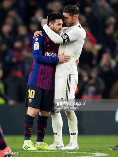Lionel Messi of FC Barcelona Sergio Ramos of Real Madrid during the Spanish Copa del Rey match between FC Barcelona v Real Madrid at the Camp Nou on...