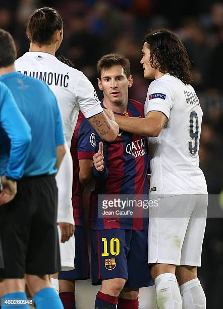 Lionel Messi of FC Barcelona shakes hands with Zlatan Ibrahimovic and Edinson Cavani of PSG at the end of the UEFA Champions League Group F match...