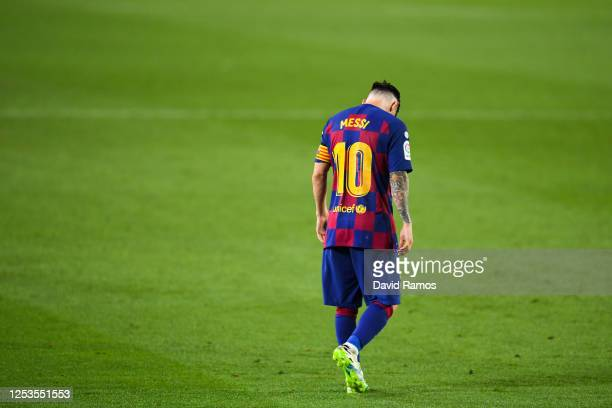 Lionel Messi of FC Barcelona shows his dejection during the Liga match between FC Barcelona and Club Atletico de Madrid at Camp Nou on June 30 2020...