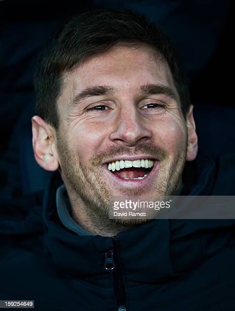 Lionel Messi of FC Barcelona smiles on the bench prior to the Copa del Rey round of sixteen second leg match between FC Barcelona and Cordoba CF at...