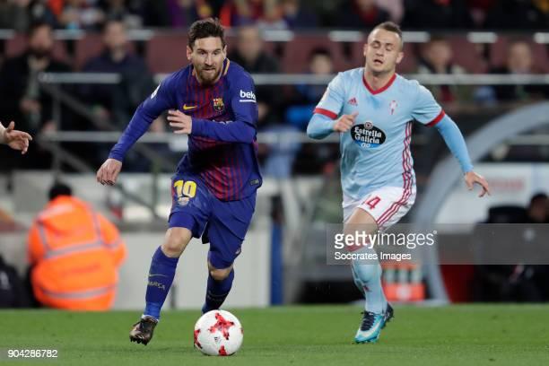 Lionel Messi of FC Barcelona Stanislav Lobotka of Celta de Vigo during the Spanish Copa del Rey match between FC Barcelona v Celta de Vigo at the...