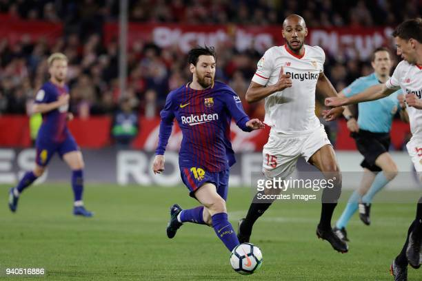 Lionel Messi of FC Barcelona Steven NZonzi of Sevilla FC Clement Lenglet of Sevilla FC during the La Liga Santander match between Sevilla v FC...