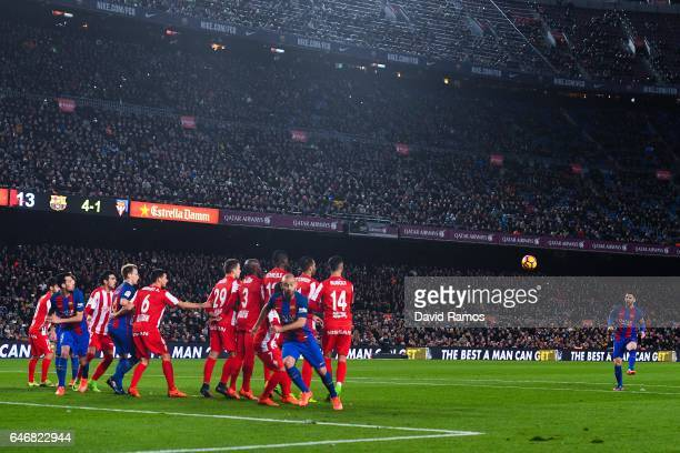 Lionel Messi of FC Barcelona takes a free kick during the La Liga match between FC Barcelona and Real Sporting de Gijon at Camp Nou stadium on March...