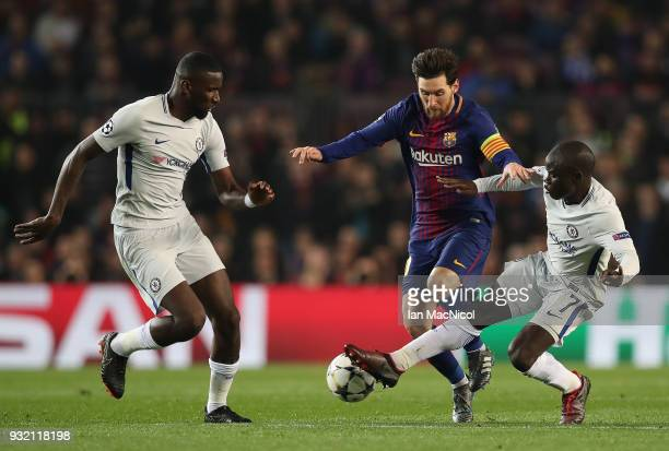 Lionel Messi of FC Barcelona vies with Ngolo Kante of Chelsea during the UEFA Champions League Round of 16 Second Leg match FC Barcelona and Chelsea...
