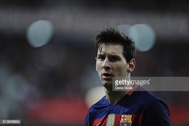 Lionel Messi of FC Barcelona walks over to take a corner kick during the La Liga match between Sporting Gijon and FC Barcelona at Estadio El Molinon...