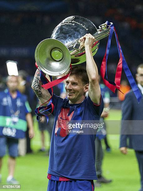 Lionel Messi of FC Barcelona with Champions League trophy during the UEFA Champions League final match between Barcelona and Juventus on June 6, 2015...