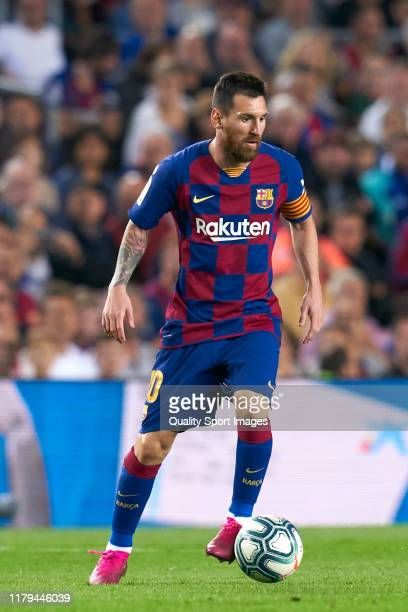 Lionel Messi of FC Barcelona with the ball during the Liga match between FC Barcelona and Sevilla FC at Camp Nou on October 06 2019 in Barcelona Spain