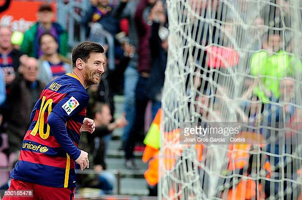 Lionel Messi of FCBarcelona celebrates his goal during the FCBarcelona vs RCD Espanyol BBVA Spanish League match 37th season on May 8 2016 in...