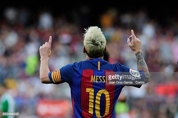 Lionel Messi of FCBarcelona celebrating his goal during the Spanish League match between FC Barcelona vs Real Betis Balompié at Nou Camp on August 20...