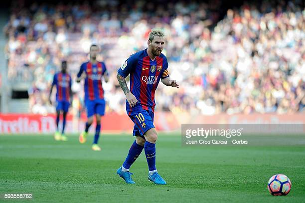 Lionel Messi of FCBarcelona during the Spanish League match between FC Barcelona vs Real Betis Balompié at Nou Camp on August 20 2016 in Barcelona...