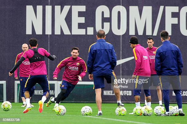 Lionel Messi of FCBarcelona in action during the FCBarcelona training session before FC Barcelona vs RC Espaol Spanish League match in Barcelona 12...