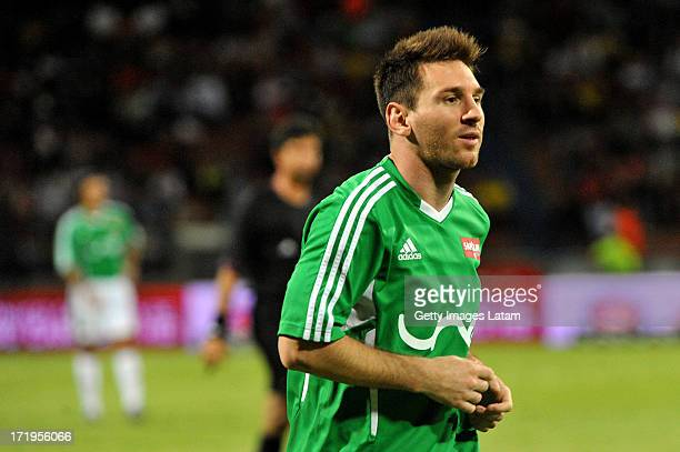 Lionel Messi of Messi Friends in action during the Messi Friends v The Rest of the World XI charity soccer match at the Atanasio Giradot Stadium on...