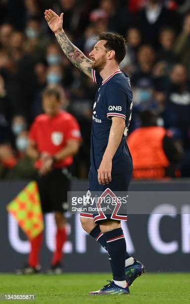 Lionel Messi of Paris Saint-Germain celebrates after scoring their sides second goal during the UEFA Champions League group A match between Paris...