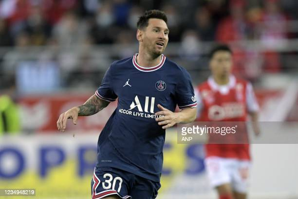 Lionel Messi of Paris Saint-Germain during the French L1 football match between Stade de Reims and Paris Saint-Germain at the Stade Auguste Delaune...