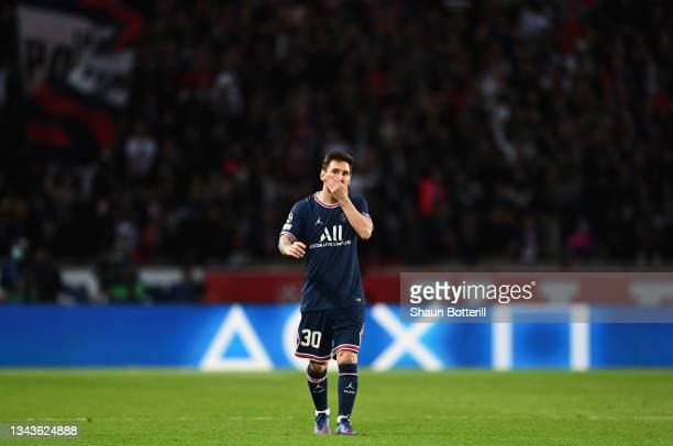 Lionel Messi of Paris Saint-Germain reacts during the UEFA Champions League group A match between Paris Saint-Germain and Manchester City at Parc des...