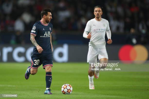 Lionel Messi of PSG and Jack Grealish of Manchester City during the UEFA Champions League group A match between Paris Saint-Germain and Manchester...