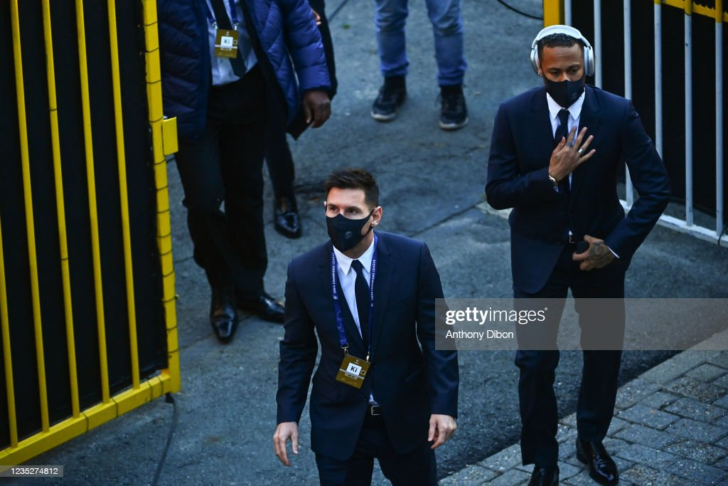 Lionel MESSI of PSG and NEYMAR JR of PSG before the UEFA ...