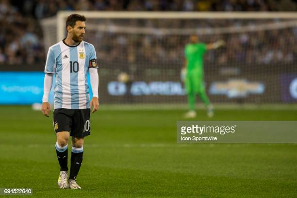 Lionel Messi of the Argentinan National Football Team looks at the options during the International Friendly Match Between Brazilian National...