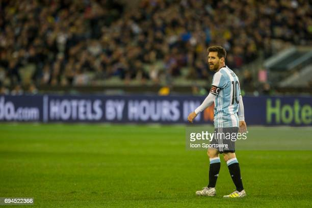 Lionel Messi of the Argentinan National Football Team looks on during the International Friendly Match Between Brazilian National Football Team and...