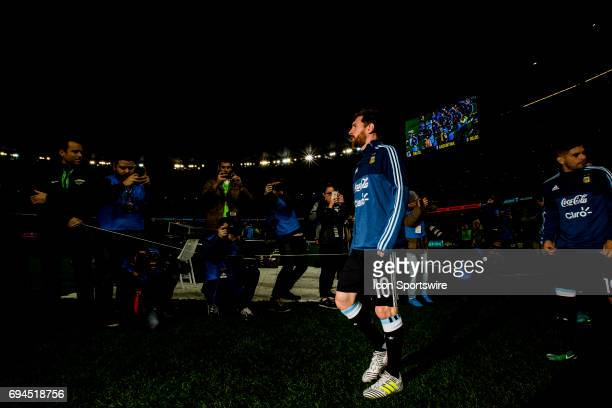 Lionel Messi of the Argentinan National Football Team walks out for the team warmup prior the the start of the International Friendly Match Between...