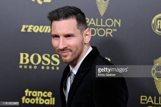 Lionel Messi poses on the red carpet during the Ballon D'Or Ceremony at Theatre Du Chatelet on December 02 2019 in Paris France