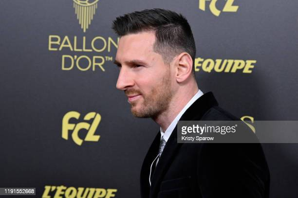 Lionel Messi poses on the red carpet during the Ballon D'Or Ceremony at Theatre Du Chatelet on December 02, 2019 in Paris, France.