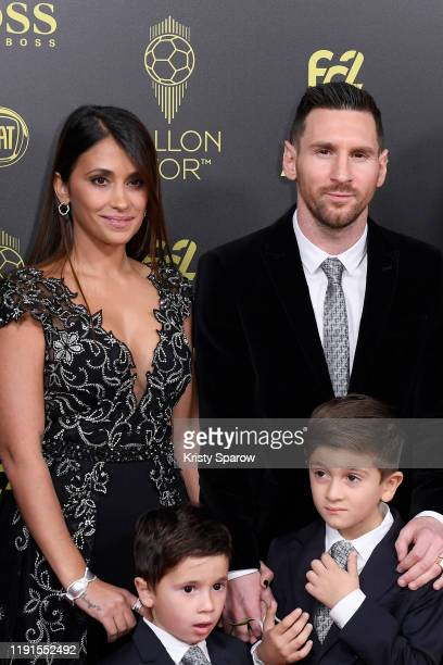 Lionel Messi poses on the red carpet with his wife Antonella Roccuzzo and their kids during the Ballon D'Or Ceremony at Theatre Du Chatelet on...