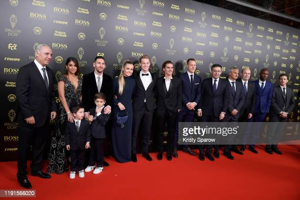 Lionel Messi poses on the red carpet with his wife Antonella Roccuzzo their kids and guests during the Ballon D'Or Ceremony at Theatre Du Chatelet on...