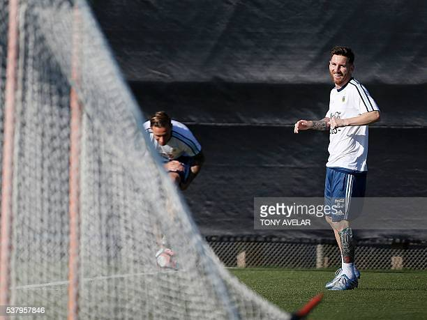 Lionel Messi practices during a training session of Argentina's National football team at San Jose State University in preparation for the Copa...