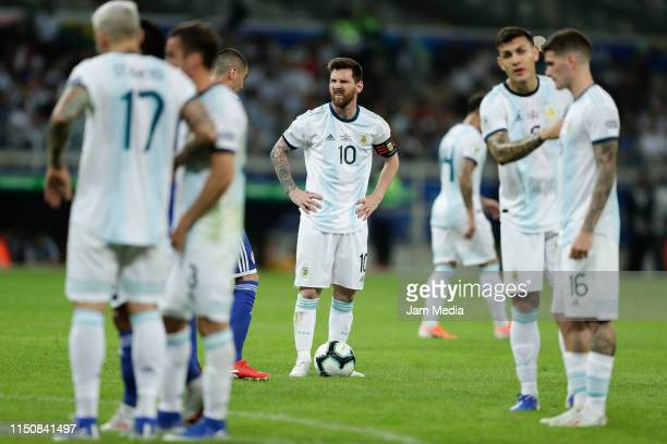 Lionel Messi reacts at the end after missing the Copa America Brazil 2019 group B match between Argentina and Paraguay at Mineirao Stadium on June...