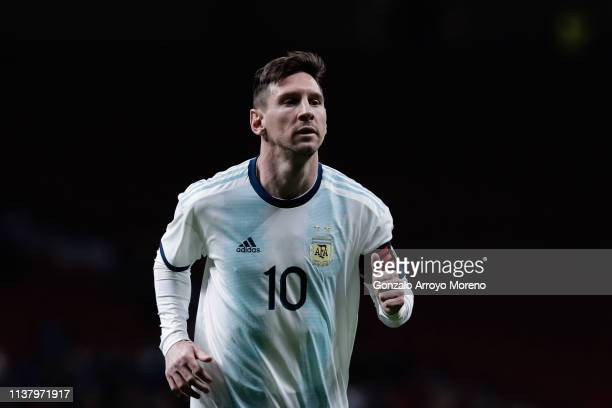 Lionel Messi reacts during the International Friendly match between Argentina and Venezuela at Estadio Wanda Metropolitano on March 22, 2019 in...