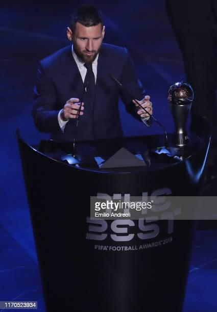 Lionel Messi receives The Best FIFA Men's Player of the Year award during The Best FIFA Football Awards 2019 at the Teatro alla Scala on September 23...