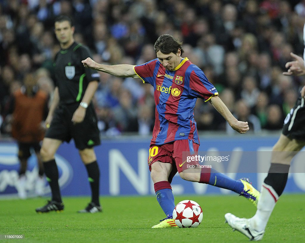 Lionel Messi scores Barcelona's second goal during the UEFA Champions League final between FC Barcelona and Manchester United FC at Wembley Stadium on May 28, 2011 in London, England. Barcelona won the match 3-1.