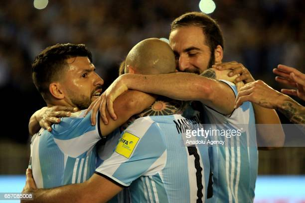 Lionel Messi Sergio Aguero Javier Mascherano and Gonzalo Higuain of Argentina celebrate scoring a goal during the FIFA 2018 World Cup Qualifiers...