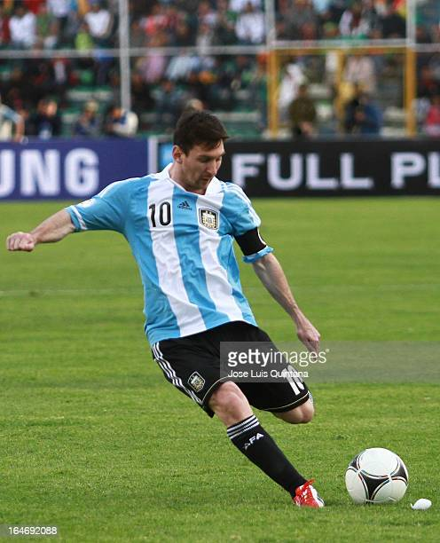 Lionel Messi shoots the ball with his left leg during a match between Bolivia and Argentina as part of the 12th round of the South American...