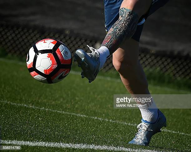 Lionel Messi trains with the Argentina national team at the San Jose State University before their upcoming COPA America 2016 soccer match against...