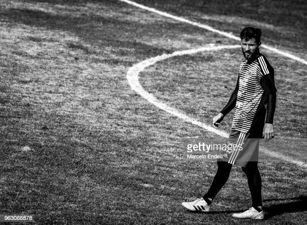 Lionel Messi walks during a training session open to the public as part of the team preparation for FIFA World Cup Russia 2018 at Tomas Adolfo Duco...