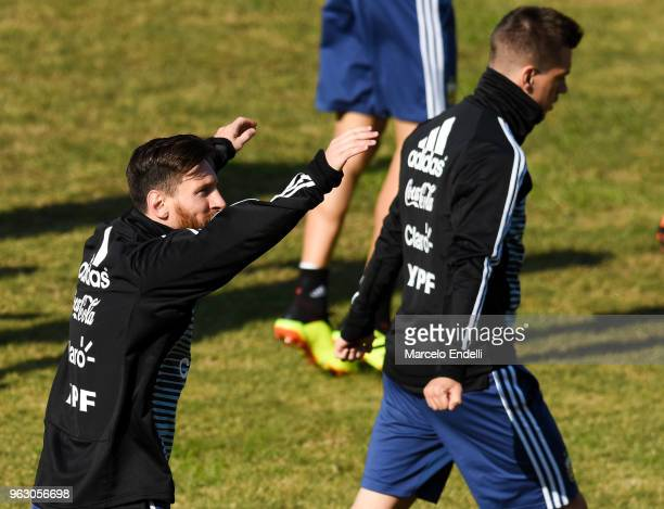 Lionel Messi warms up during a training session open to the public as part of the team preparation for FIFA World Cup Russia 2018 at Tomas Adolfo...
