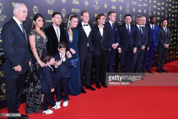 Lionel Messi with his wife Antonella and his child Frenkie DE JONG Antoine GRIEZMANN and Josep MARIA BARTOMEU president of Barcelona during the...