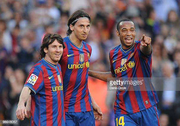 Lionel Messi Zlatan Ibrahimovic and Thierry Henry of Barcelona celebrate after Ibrahimovic scored his team's third goal during the La Liga match...