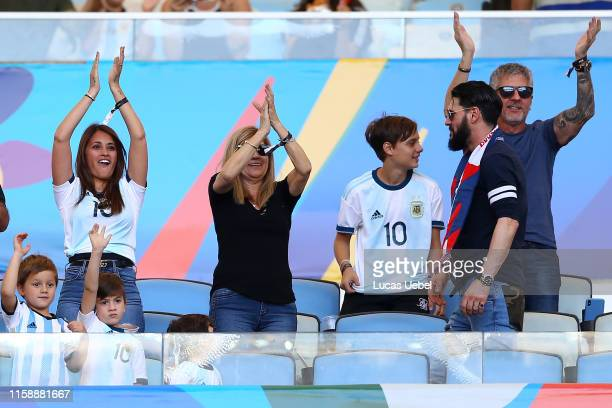Lionel Messi's family wife Antonella Roccuzzo mother Celia María Cuccittini father Jorge Messi and sons Thiago and Mateo cheer prior to the Copa...