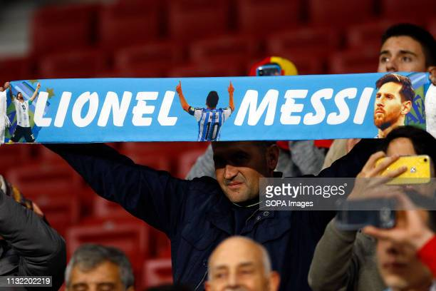 Lionel Messi's fan seen holding a banner during the International Friendly match between Argentina and Venezuela at the wanda metropolitano stadium...