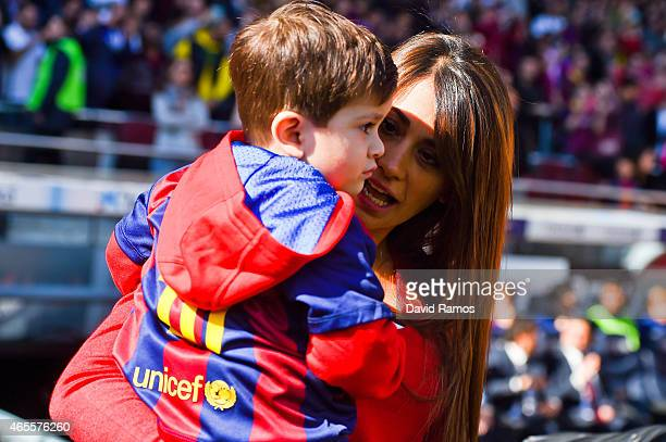 Lionel Messi's wife Antonella Roccuzzo holds her son Thiago prior to the La Liga match between FC Barcelona and Rayo Vallecano de Madrid at Camp Nou...