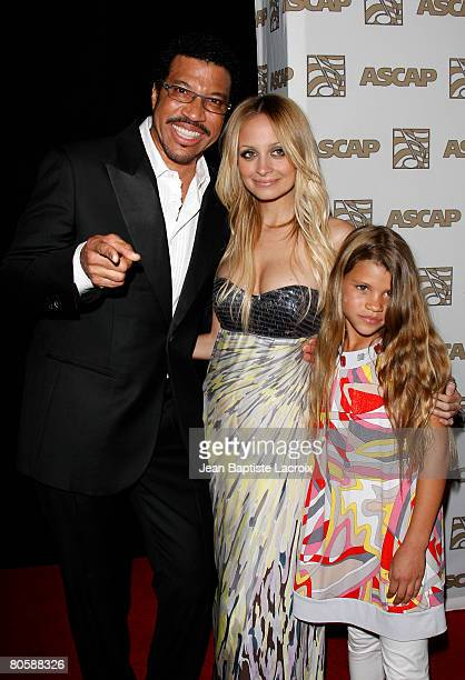 Lionel Richie and daughter's Nicole Richie and Sophia Richie arrive at the 2008 ASCAP Pop Awards at the Kodak Theatre on April 9 2008 in Hollywood...